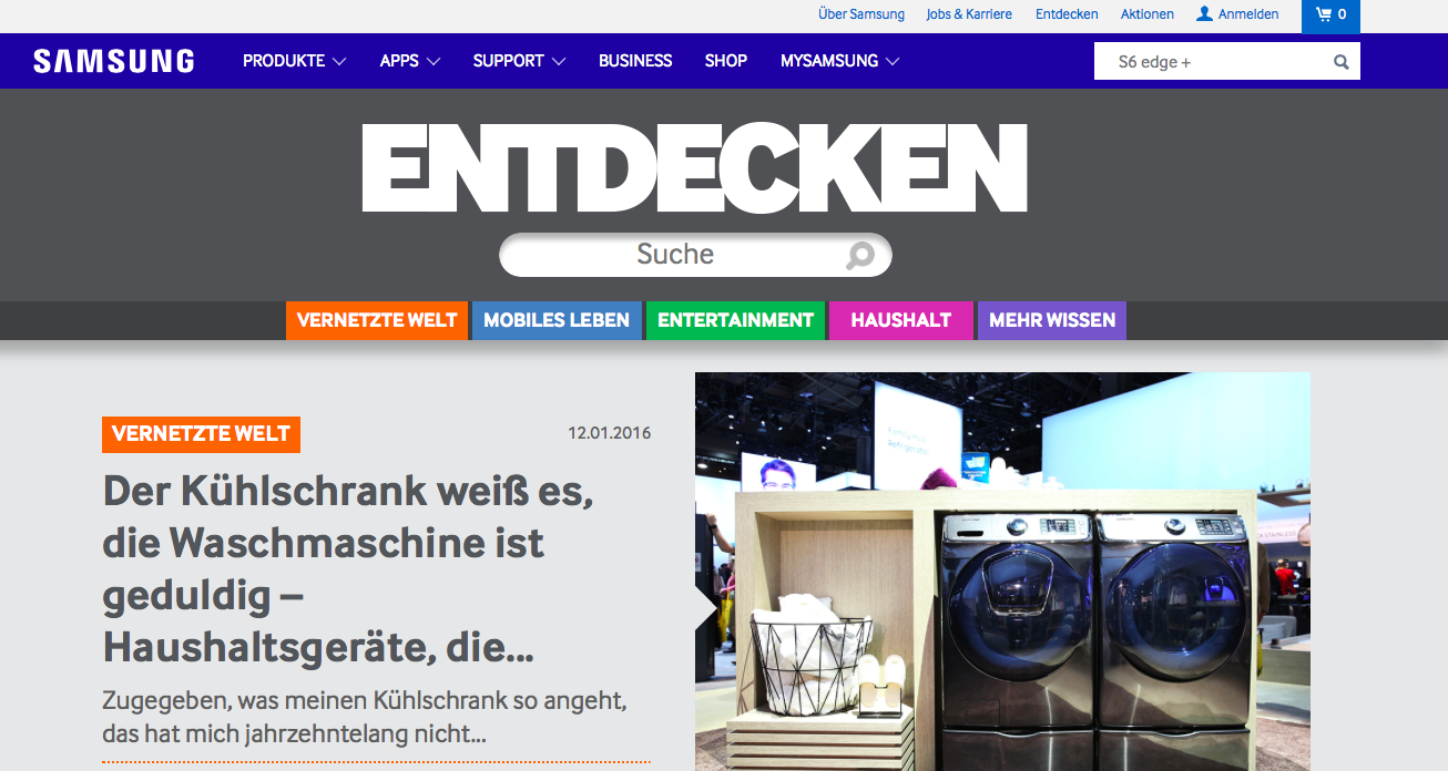 Online-Magazin von Samsung