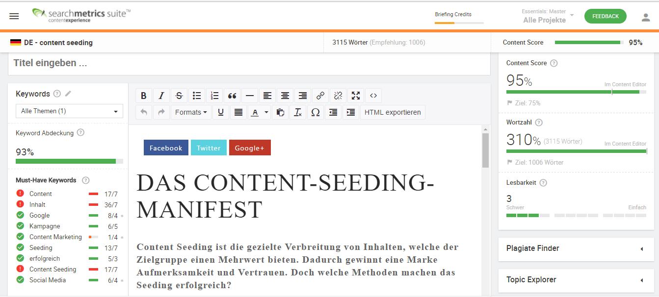 Moderner SEO Content Score