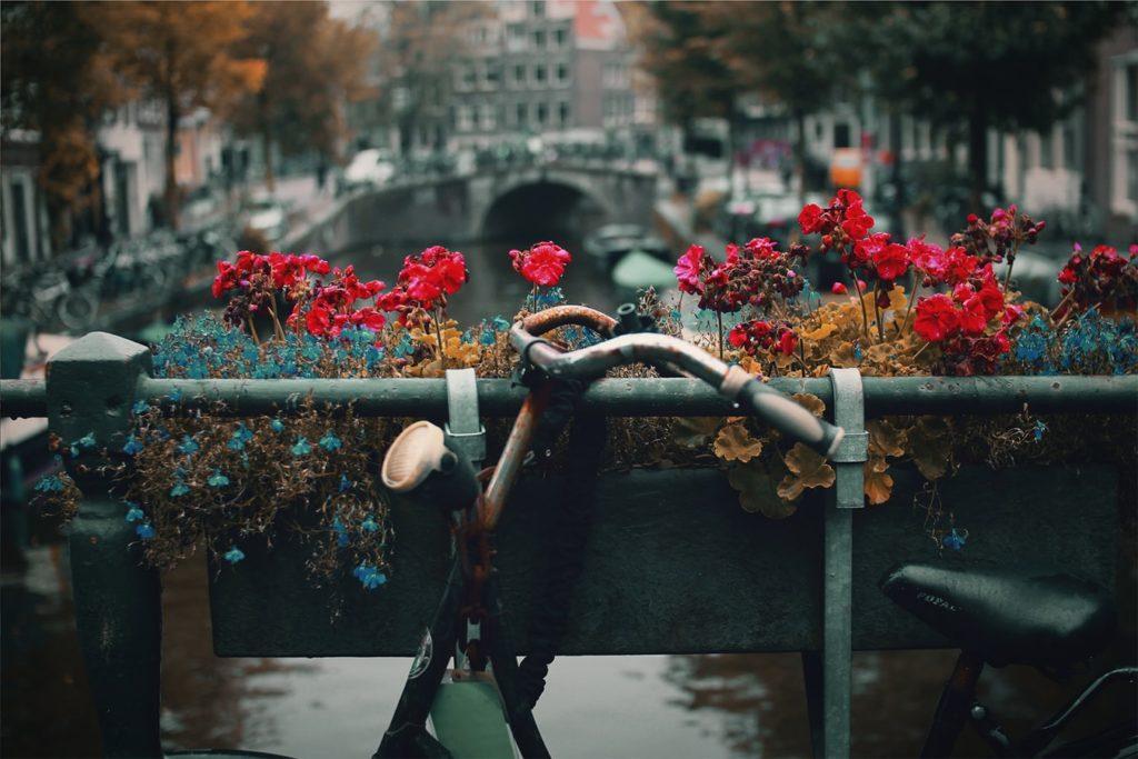 Fahrrad vor Kanal in Amsterdam