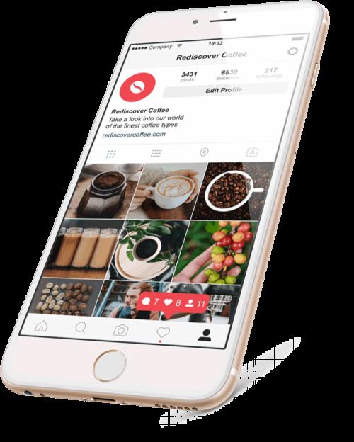 IPhone mit geöffneter Instagram-App