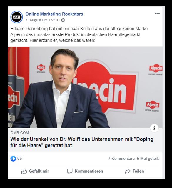 gelungener Facebook-Post der OMR