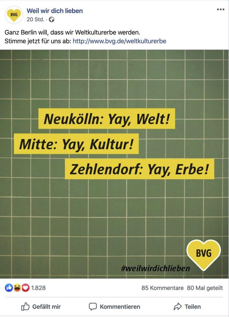 Social Media Content Idee: Die BVG ruft zur Abstimmung auf. Die BvG will Weltkulturerbe werden.