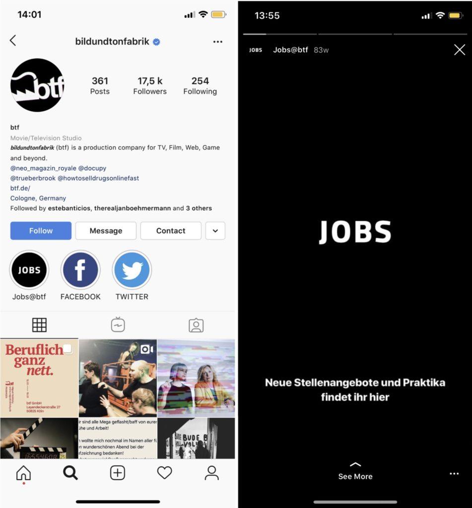 Recruiting auf Instagram der bildundtonfabrik