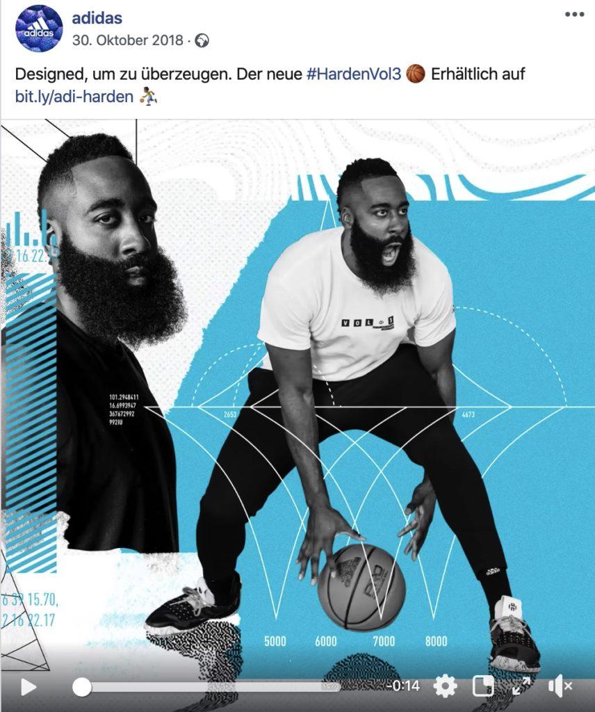 Social Media Content Idee: Adidas Produktvideo mit einer Kooperation mit James Harden