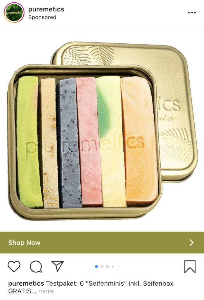 Puremetics wirbt mit gesponserten Posts für ihre Seifen.