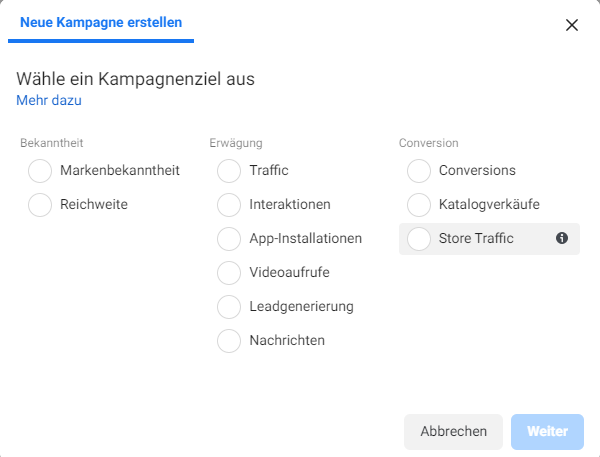 Kampagnenziele im Facebook Business Manager