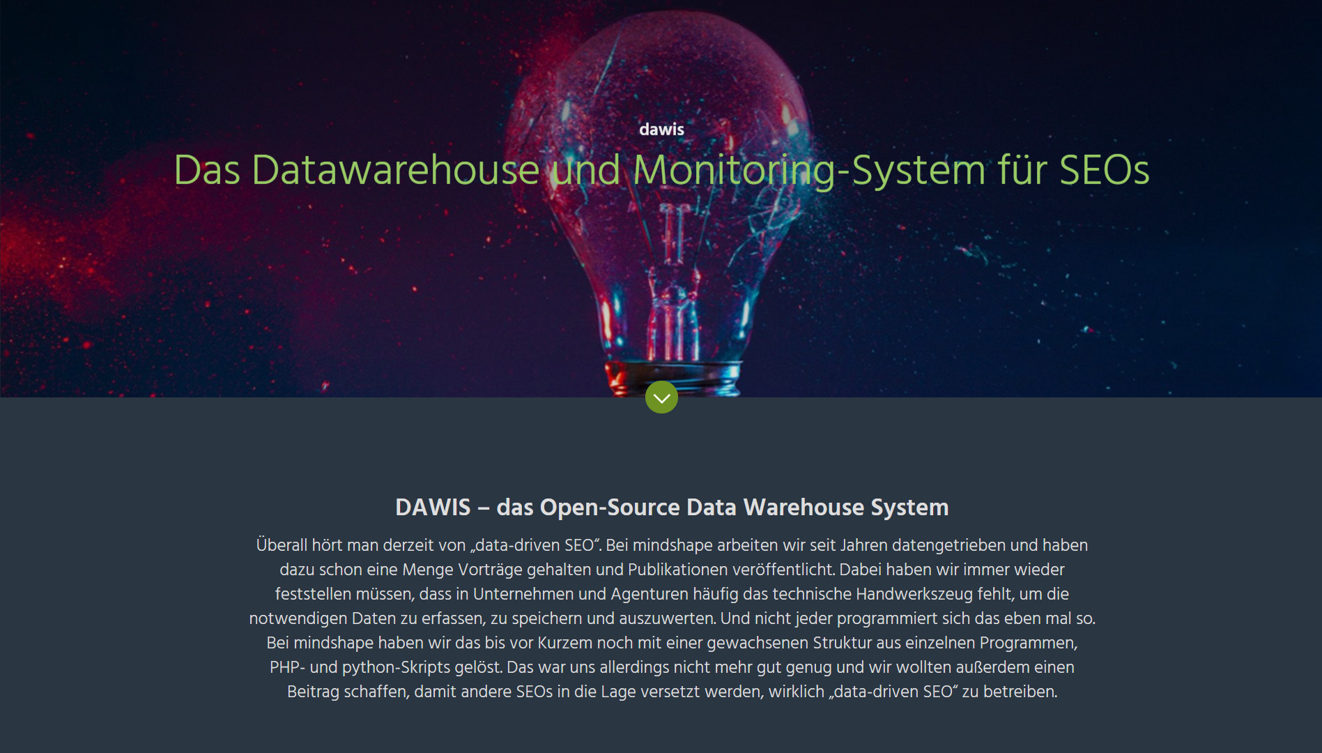 Screenshot der Website von DAWIS