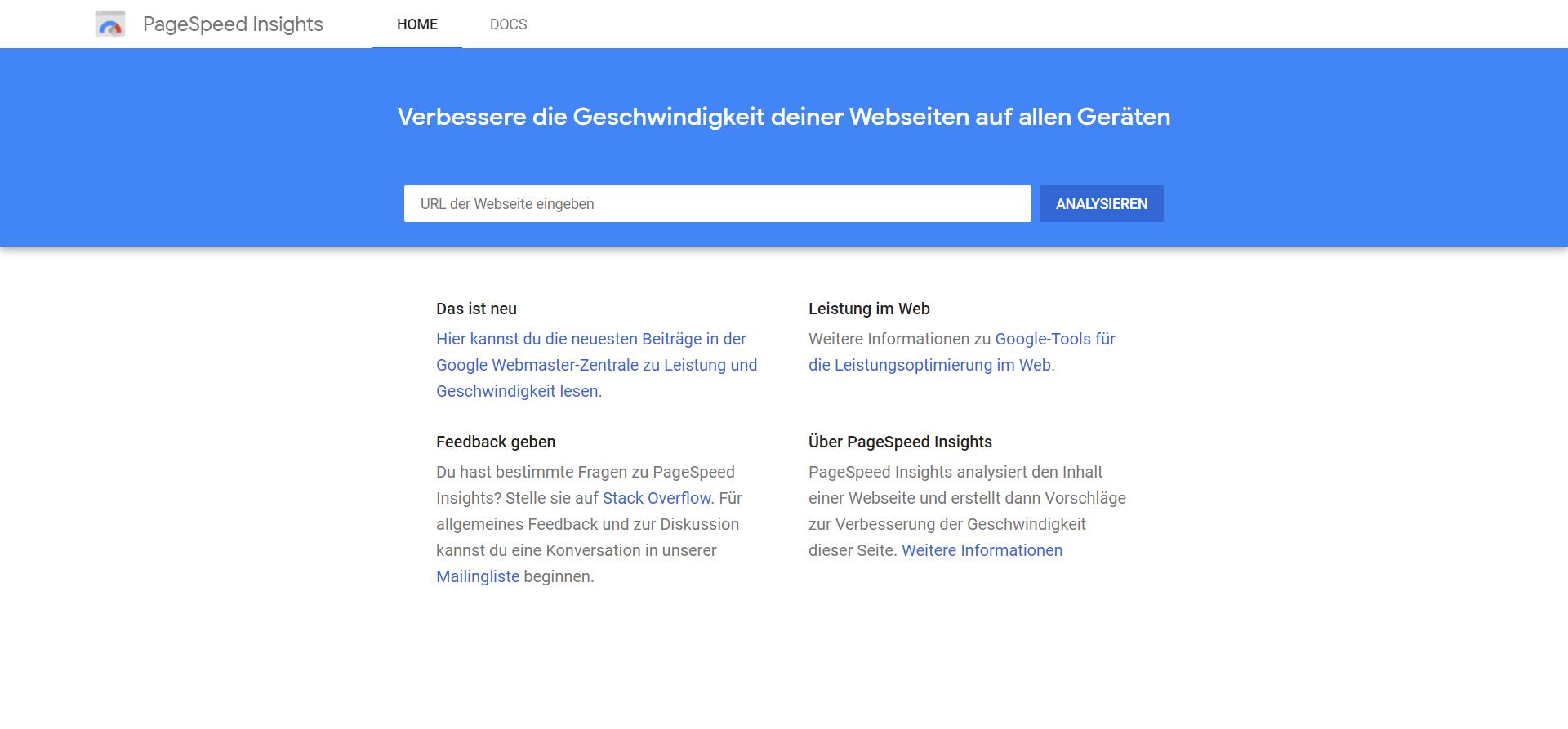 Startseite von Google PageSpeed Insights