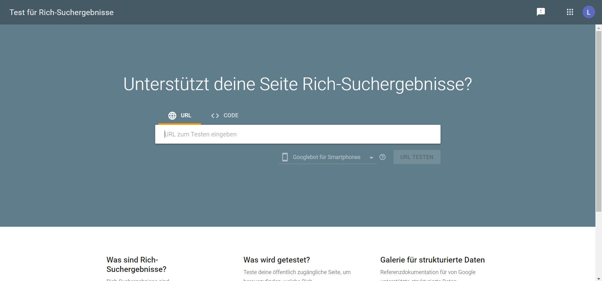 Screenshot Rich Suchergebnischeck