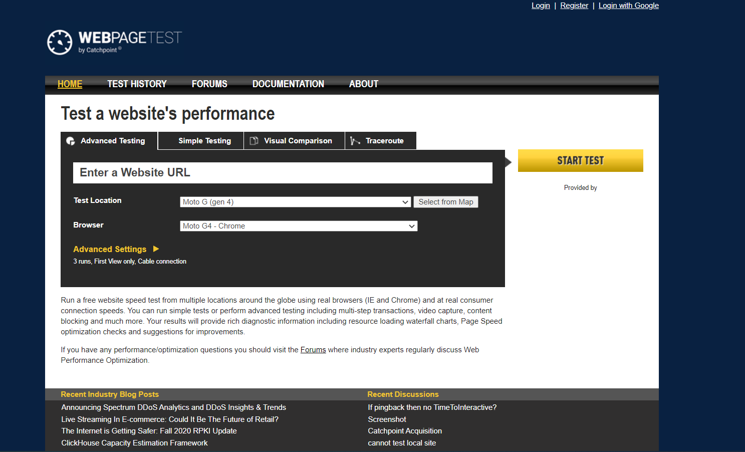 Screenshot von Webpagetest.org