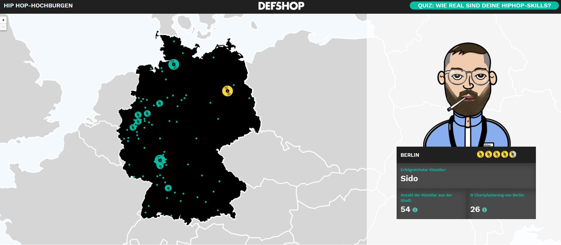 DefShop Map Hip Hop Hochburgen Deutschlands