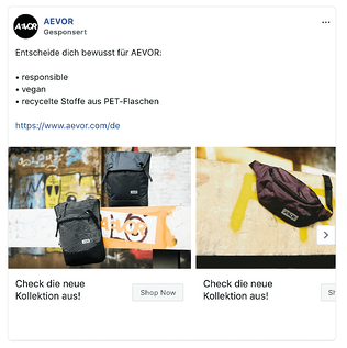 Die Marke AEVOR nutzt bezahlte Anzeigen auf Facebook als Marketingkanal